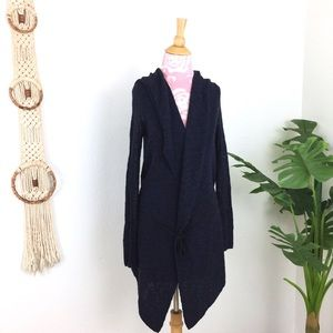 Free People Navy Knit Waterfall Hooded Cardigan